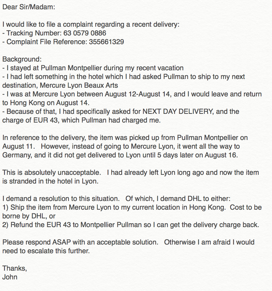 DHL Customer Service Complaints Department | HissingKitty com
