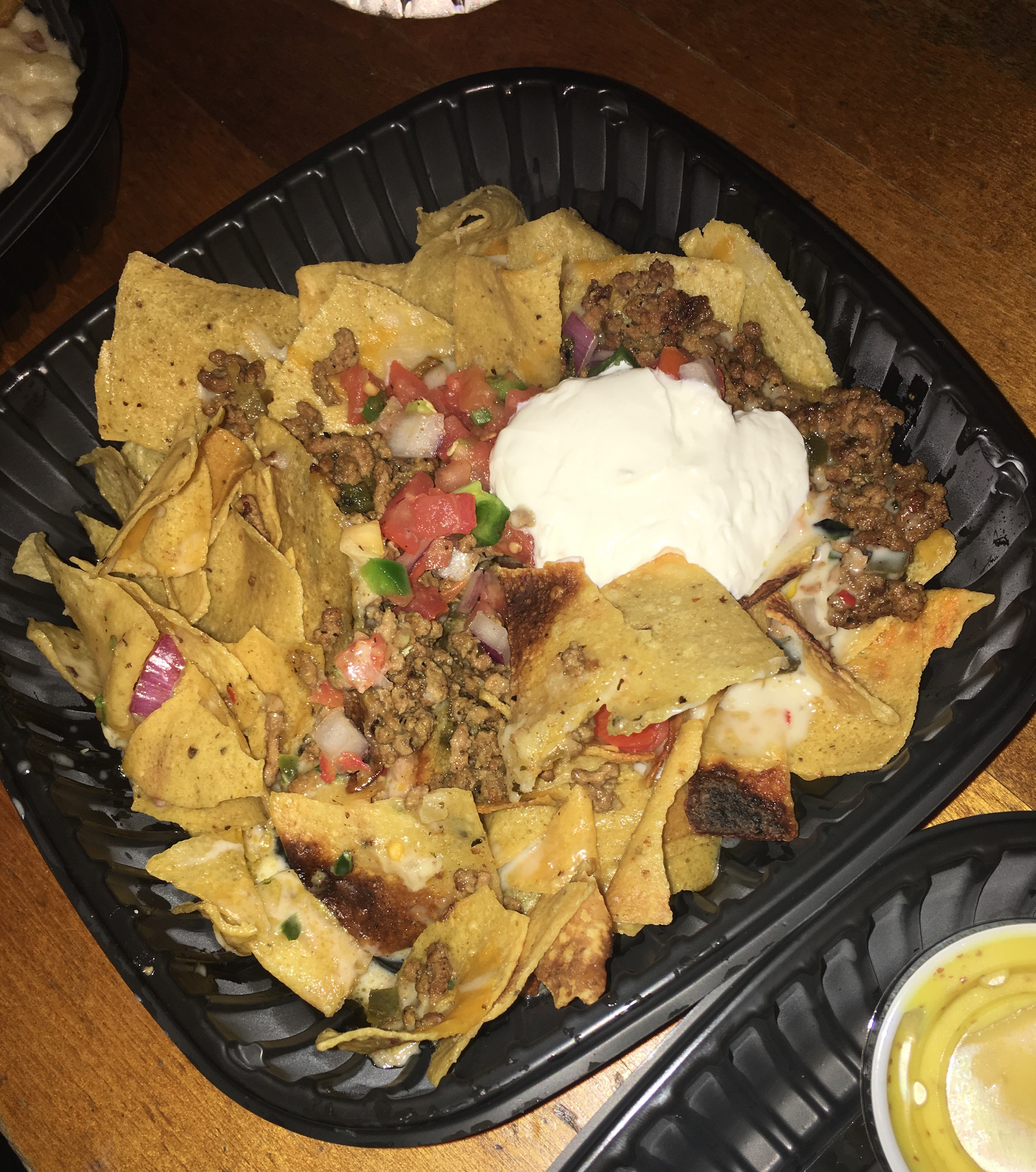 Horrible food nachos we re over cooked and barely any toppings and just weren t good mash potatoes were discolored weird texture and not good