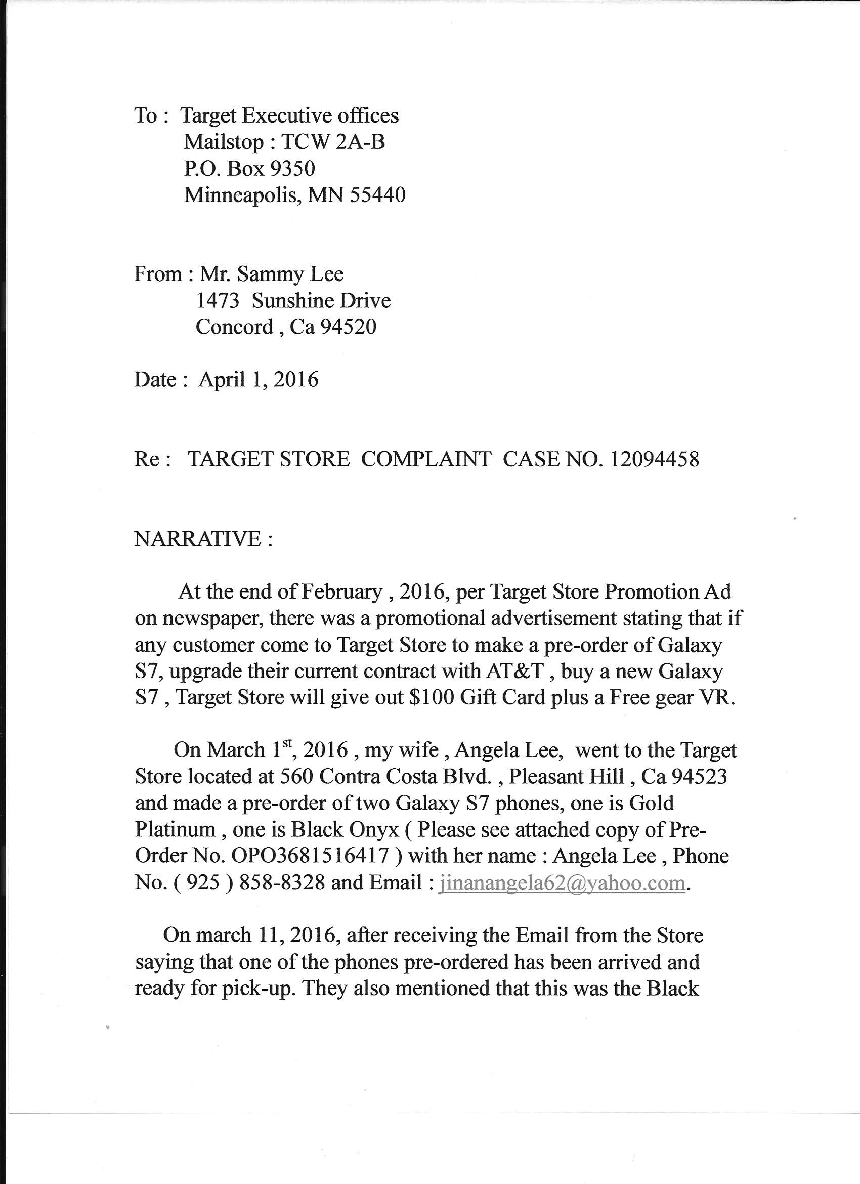 Target Customer Service Complaints Department Com  Civil Complaint Template