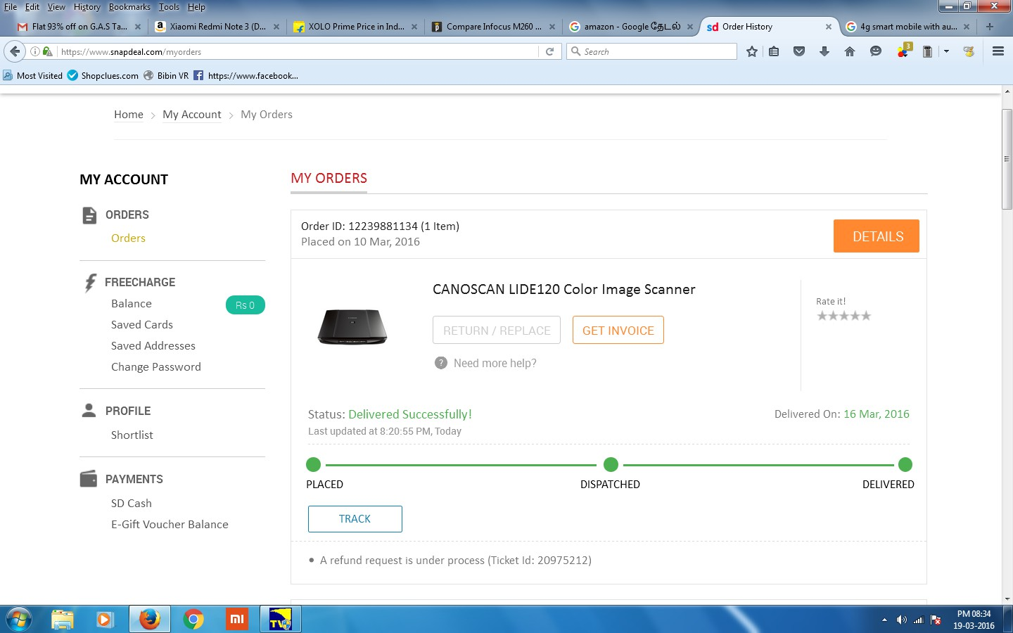 5d1fde52c45 ... Order ID  11635257527 (1 Item) on 8th February 2016. month. why this  irregularity and the consumer protect act violation happening  in the  snapdeal.